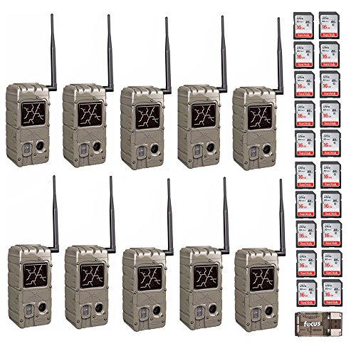Cuddeback (10) 20MP Dual Flash Trail Cameras with CuddeLink Wireless Network CL-Caps & 20 SD Cards