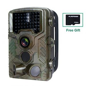FLAGPOWER Hunting Trail Camera, 16MP 1080P 0.2-0.6s Trigger Time Wildlife Game Camera with 2.4″ LCD 850nm Upgrading IR LEDs Night Vision up to 75ft/2.3m IP66 Spray Water Protected Design
