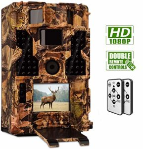 CLOBO Trail Camera- Waterproof 20MP 1080P Game Camera with Night Vision Motion Activated 0.2s Trigger Speed 3PIR 48IR LEDs 120° Detecting Range Cams Time Lapse for Wildlife Monitoring Home Security