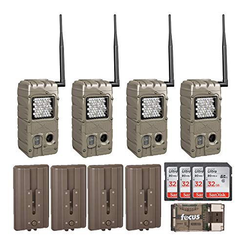 Cuddeback CuddeLink Power House Black Flash 20MP Trail Cameras 4-Pack with Battery Boosters, Memory Cards, and Focus Reader Bundle (10 Items)