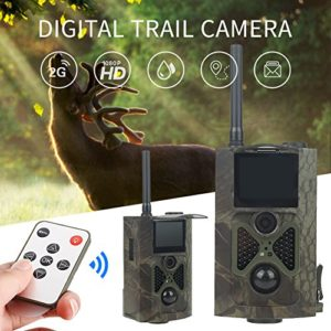 Hbcz Trail Camera, 12MP 1080P Digital Infrared Camera with Trail Hunting Video IR Cam, Night Vision, Support MMS/SMTP/SMS/E-Mail