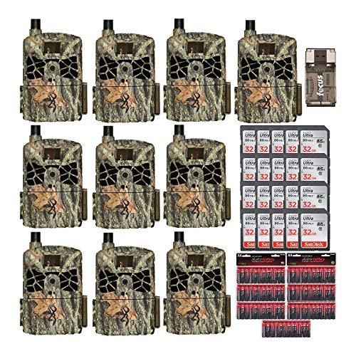 Browning Trail Cameras Defender Wireless 20MP Game Camera AT&T (10-Pack) Bundle with Memory Cards, Card Reader, and Batteries (38 Items)