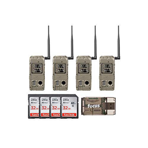 Cuddeback G-Series CuddeLink Double Barrel 20MP Trail Camera 4-Pack with Cards and Focus Card Reader Bundle (9 Items)