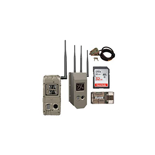 Cuddeback G-Series CuddeLink Double Barrel 20MP Trail Camera with Security Box and Cable, Memory Card and Focus Card Reader Bundle (5 Items)