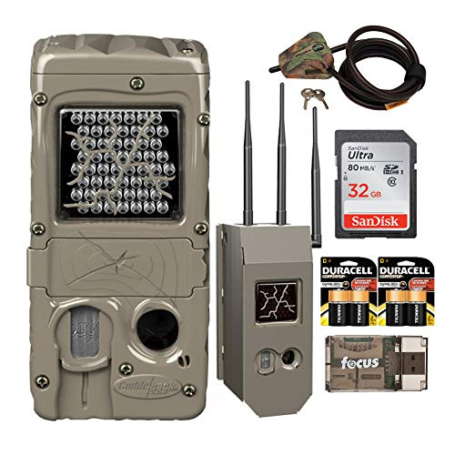 Cuddeback G-Series Powerhouse IR 20MP Trail Camera with Max Field Life Bundle: Includes Cam, Case, Cable Lock, Batteries, Card and Reader (7 Items)