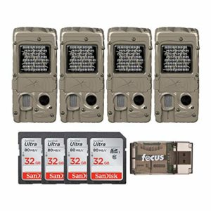 Cuddeback G-Series Powerhouse IR 20MP Trail Cameras 4-Pack Bundle with Memory Cards and Focus Card Reader (9 Items)