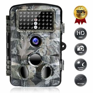 FUNSHION Trail Game Camera, 16MP 1080P Trail Cameras with Night Vision Motion Activated Waterproof IP66 2.4'' LCD Hunting Scouting Cam for Wildlife Monitoring 120°Detecting Range 42pcs IR LEDs