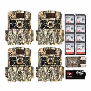 Browning Trail Cameras Strike Force HD MAX with 32GB SD and Focus USB Reader Bundle 4 Pack (14 Items)
