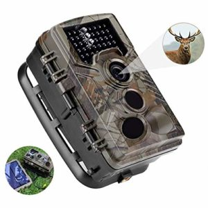 QARYYQ Hunting Camera 16MP 1080P32G Memory Card HD Solar Wildlife Trail Game Camera 120° Wide Angle Night Vision 0.2s Trigger Speed ​​65 Ft Trigger Distance Wild Animal Camera