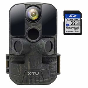Trail Camera, XTU Game Hunting Camera with 24MP 1080P Full HD, Night Vision, Motion Activated for Wildlife Monitoring, Garden, Yard, Home Security, 32GB SD Card Included