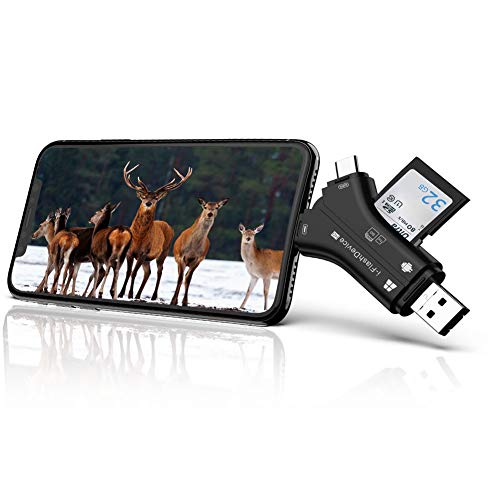 Trail Cam Viewer SD Card Reader- 4 in 1 SD and Micro SD Memory Card Reader for iPhone to View Photos and Videos from Wildlife Scouting Game Cam, Black
