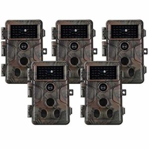 5pcs Trail Camera Wildlife Cam 20MP 1080P H.264 Video 100ft Night Vision (2P+Audio Dark X 5)