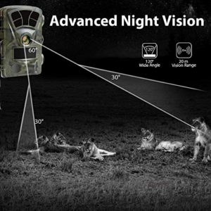 Ctronics Trail Camera WiFi 4K, 20MP Hunting Camera Wildlife Game Camera with 3 Infrared Sensors 120° Wide Angle Motion Activated Night Vision for Wildlife Monitoring Hunting