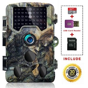 SOVACAM Trail Camera, 16MP Photos and 1080P HD Videos Hunting Cameras w/32G Micro SD Card, Up to 0.2s Trigger Time, 65ft Night Vision,IP 56, Camouflage (Camouflage+Card)