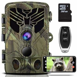 HiTauing Trail Camera WiFi 20MP 4K Hunting Wildlife Game Camera with IP66 Waterproof, 3 Infrared Sensors, 120° Wide Angle Motion Activated Night Vision for Wildlife Monitoring Hunting, Garden