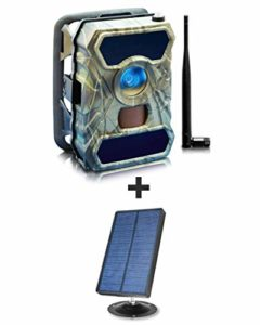 Solar Panel + 3G Cellular Trail Camera – Outdoor WiFi Full HD Wild Game Camera with Night Vision for Deer Hunting, Security – Wireless Waterproof and Motion Activated – 32GB SD Card + Sim Card