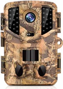 Trail Camera with 12MP and 1080P Hunting Cameras with No-Glow Infrared Night Vision Hunting Camera for Wildlife Monitoring Low Glow and Upgraded Waterproof IP66 for Outdoor Wildlife Watching